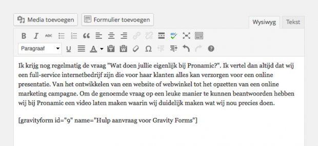 Een Gravity Forms formulier toevoegen
