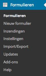 Het menu van Gravity Forms in de wp-admin