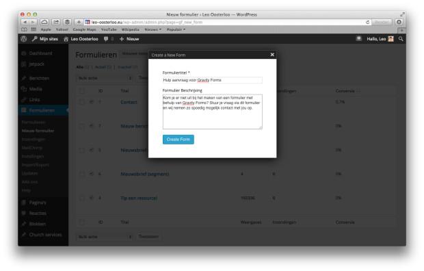 WordPress Gravity Forms - Nieuw formulier aanmaken