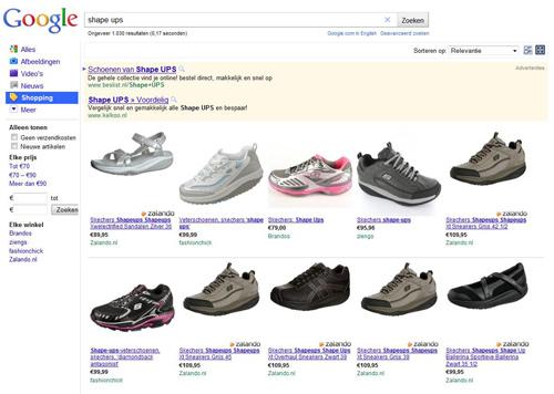 Producten in de natuurlijke zoekresultaten