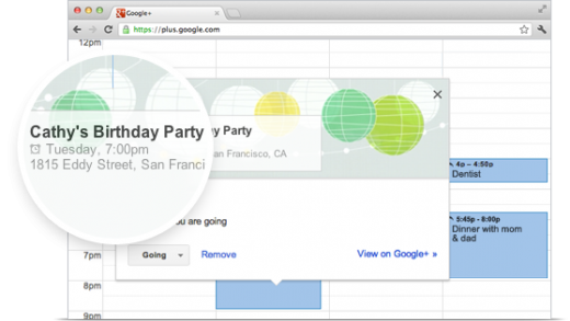 Google Events Calender