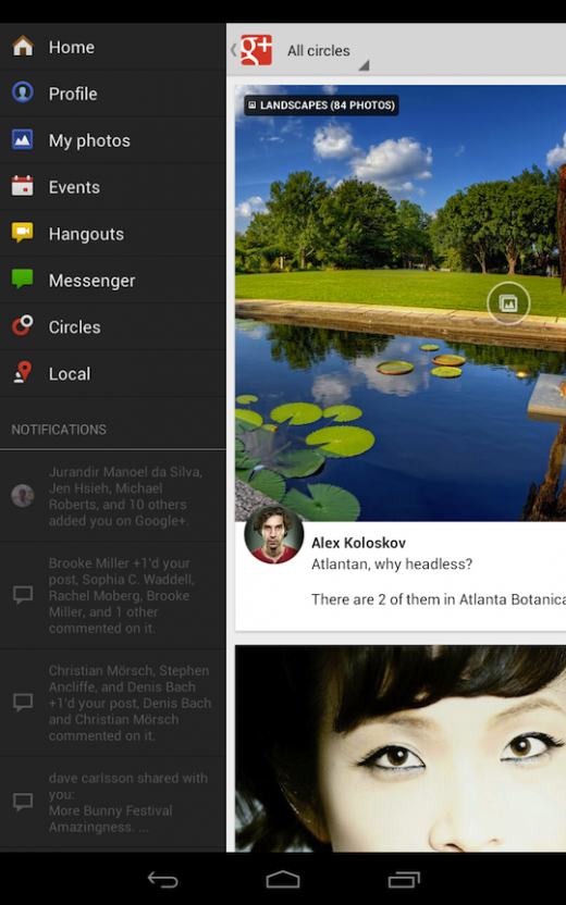 Google Plus voor tablets