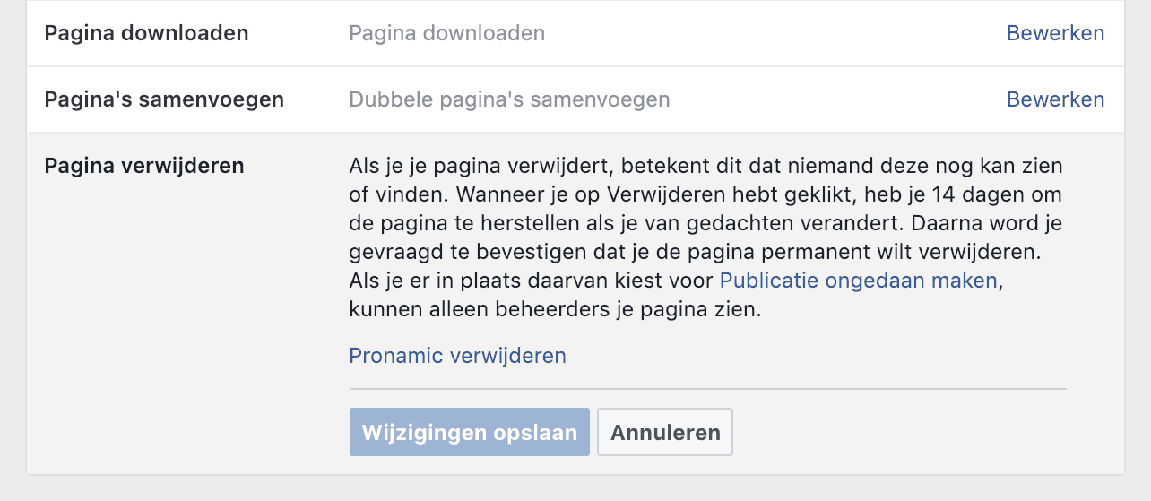 Facebook pagina verwijderen