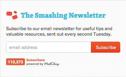 Email signup Smashing Magazine