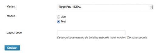 iDEAL TargetPay configuratie