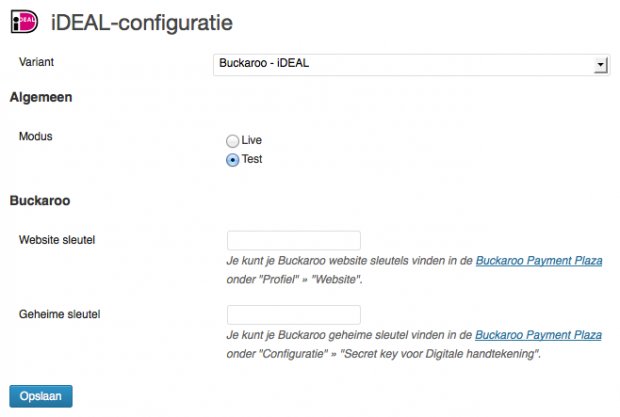 WordPress Buckaroo - iDEAL-configuratie