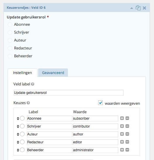 Waarden voor gebruikersrollen die bij betaling aan de gebruiker kunnen worden toegewezen.