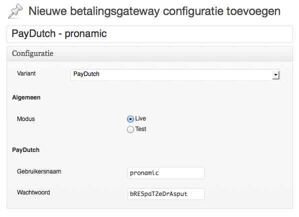 WordPress PayDutch betalingsgateway configuratie