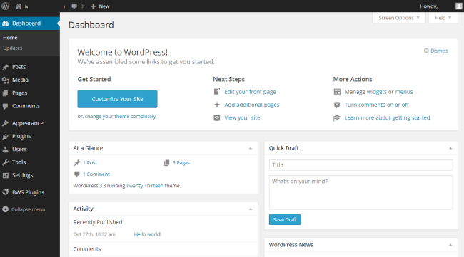 Screenshot WordPress 3.8