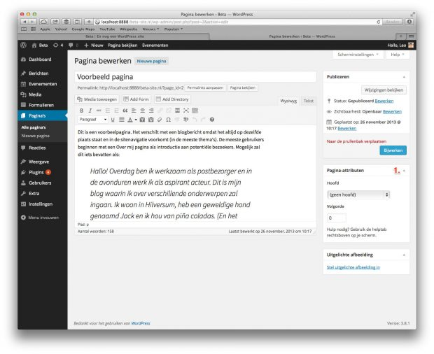 06. WordPress handleiding - Nieuwe pagina