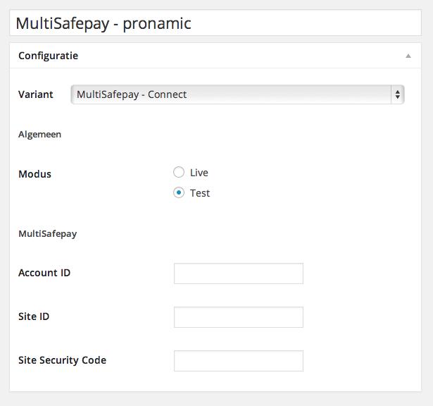 MultiSafepay configuratie