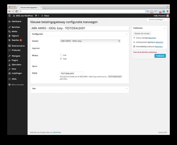 Pronamic iDEAL - Nieuwe configuratie toevoegen