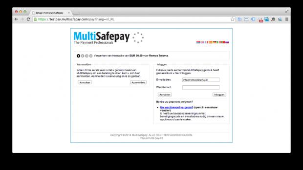 MultiSafepay verwerken test transactie