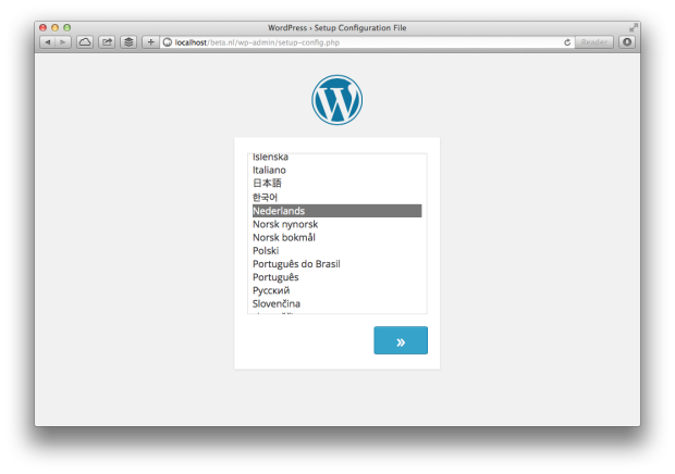 Screenshot: WordPress 4.0 Installatie