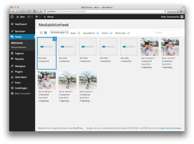 Screenshot: WordPress 4.0 Mediabibliotheek