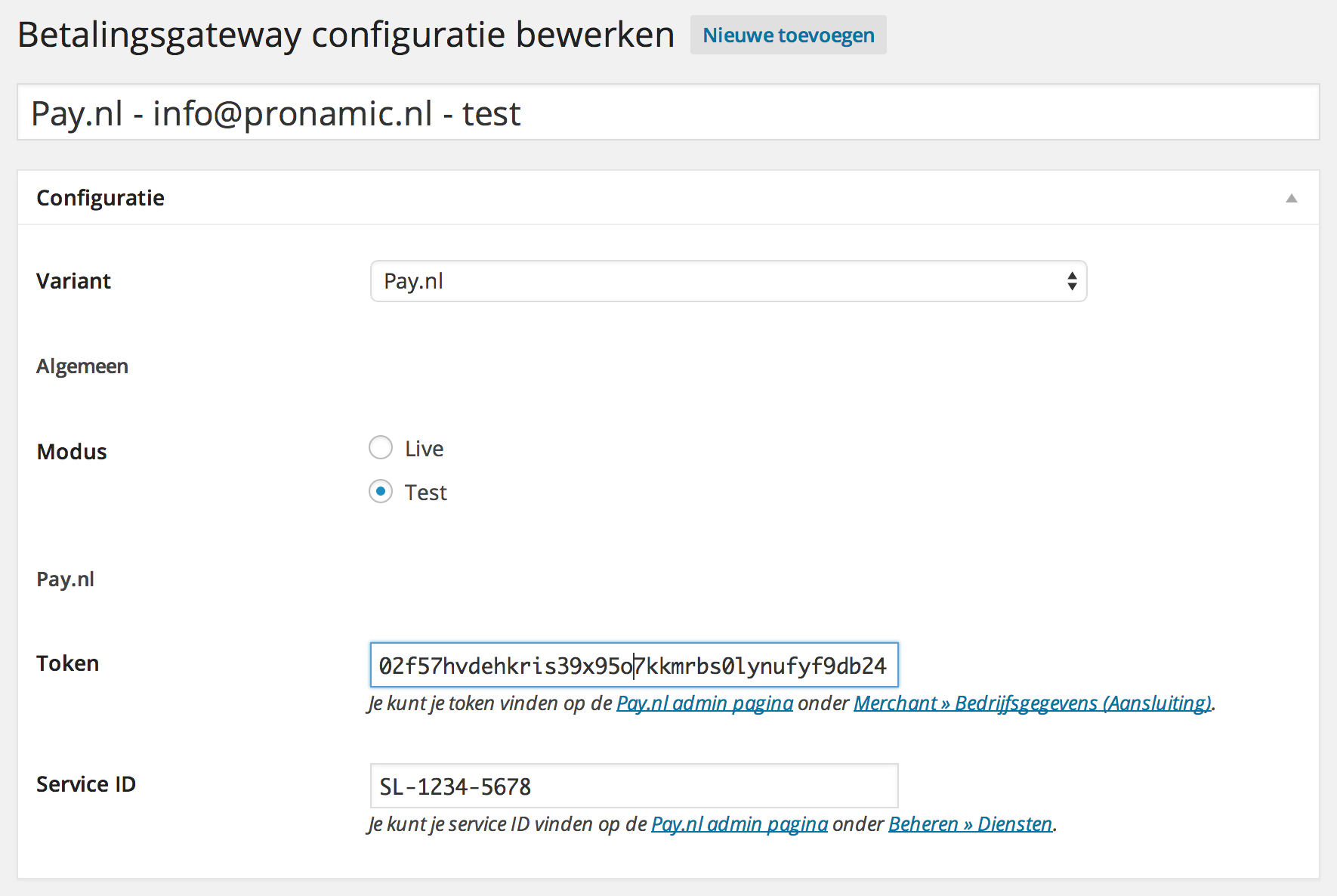 WordPress Pay.nl configuratie