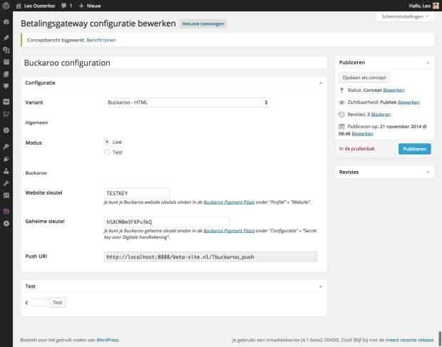 Configuratie Betalingsgateway Buckaroo
