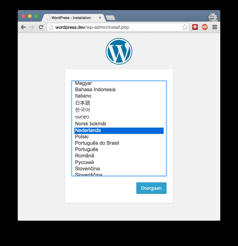 WordPress installatie kies taal