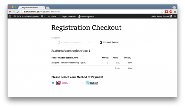 Event Espresso registration checkout iDEAL