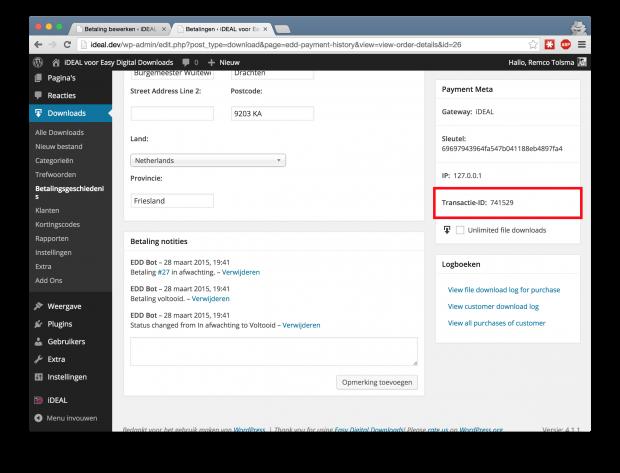 Op de Easy Digital Downloads bestelling detailpagina is nu dezelfde transactie ID van de (iDEAL) payment provider te zien.