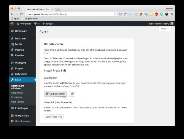 """Via de """"WordPress admin » Extra » Beschikbare middelen"""" pagina kan de """"Publiceer dit"""" bookmarklet 'geïnstalleerd' worden."""
