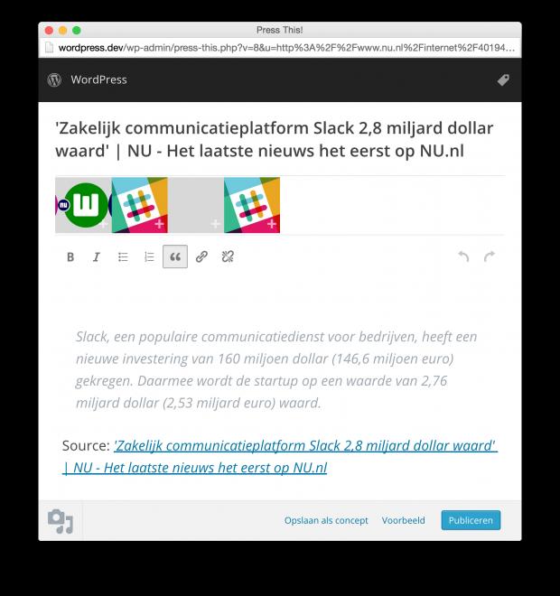 """Een NU.nl artikel doorplaatsen naar WordPress met de """"Publiceer dit"""" functionaliteit."""