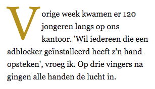 Volkskrant quote over Adblockers