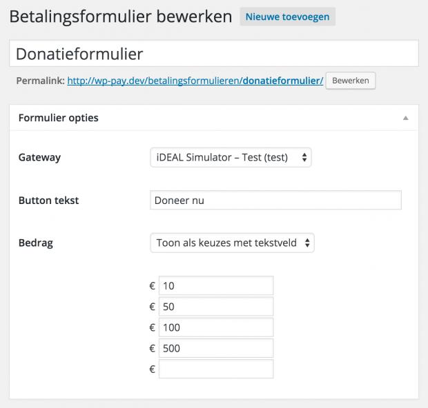 Een Pronamic iDEAL betalingsformulier met vaste bedragen keuzes.