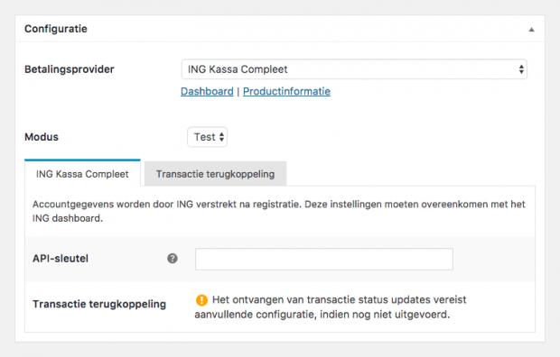WordPress ING Configuratie