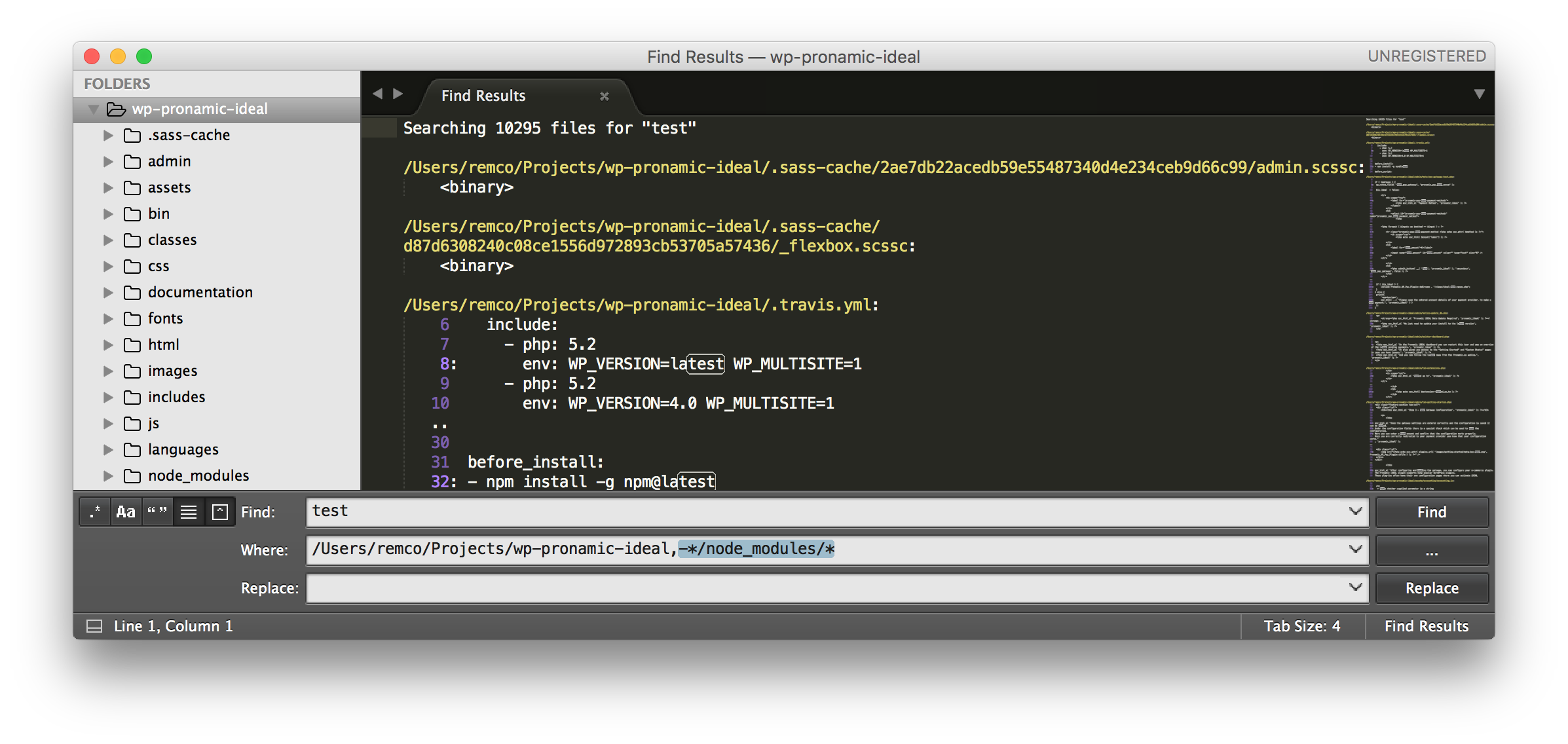 Sublime Text 3 - Finder in Folder - node_modules filter
