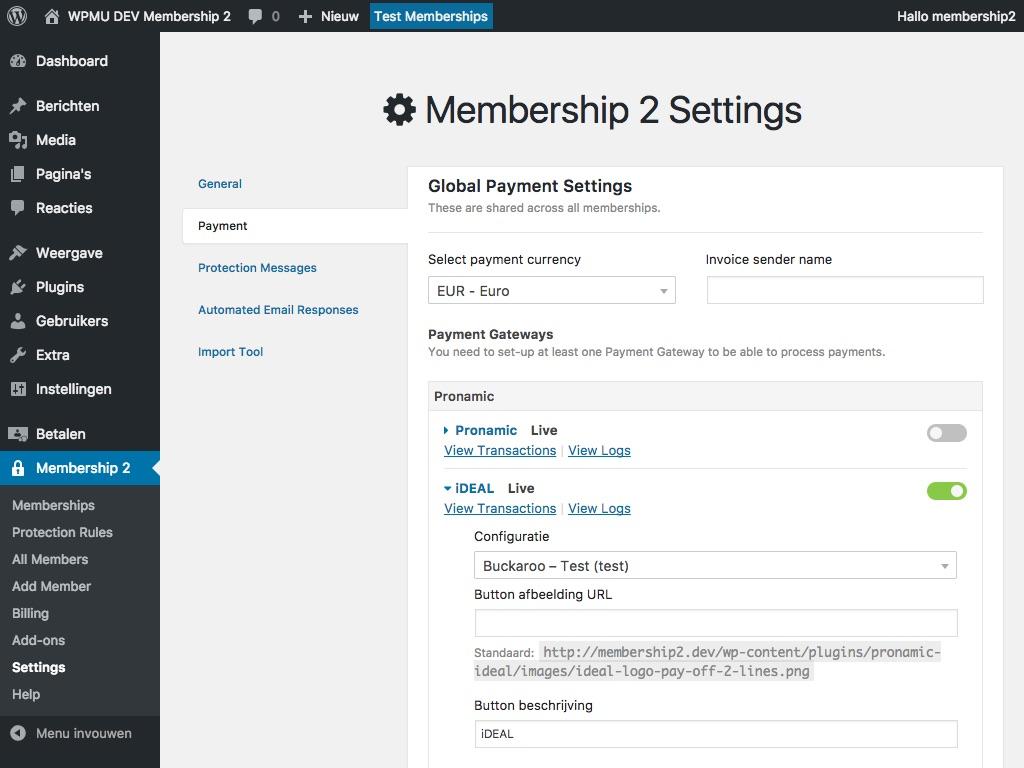 Membership2 iDEAL betaalmethode instellen