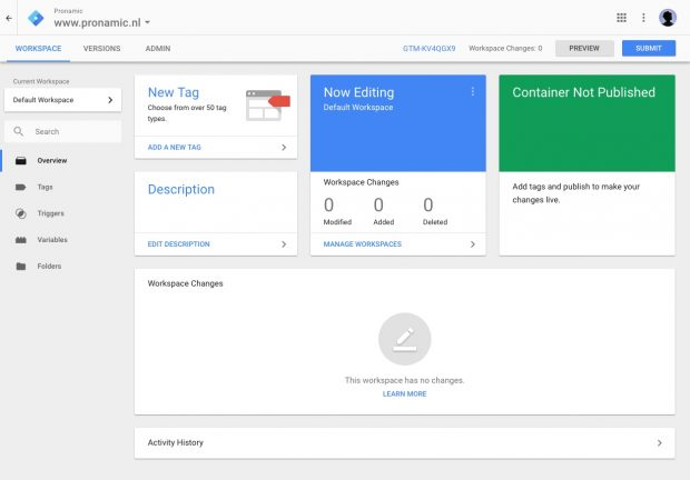 3. Google Tag Manager - Workspace