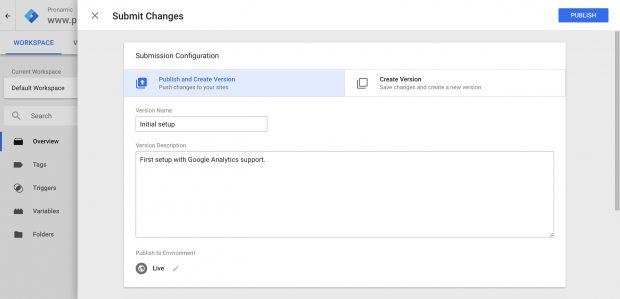 6. Google Tag Manager - Submit container