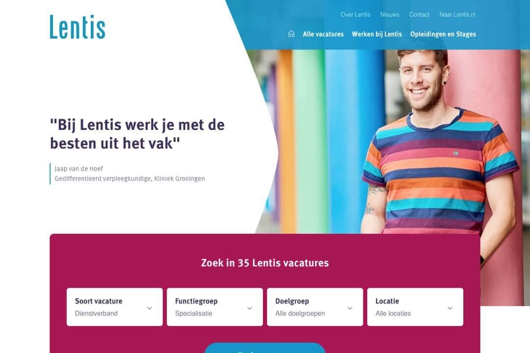 Screenshot WordPress website Werken bij Lentis
