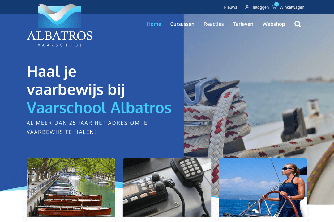 WordPress website Vaarschool Albatros
