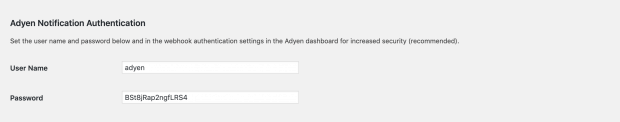 WordPress Adyen notificatie authentificatie