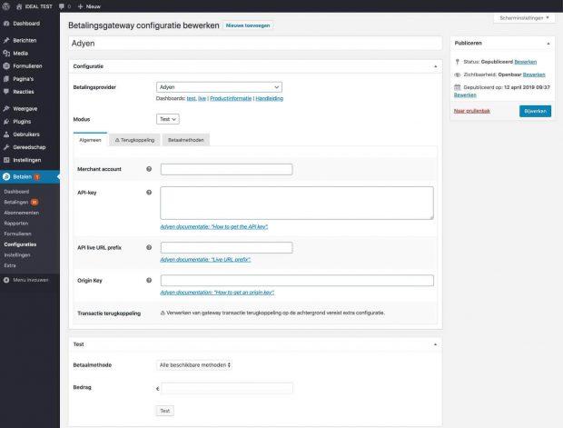 Adyen betaalconfiguratie aanmaken in WordPress met Pronamic Pay.